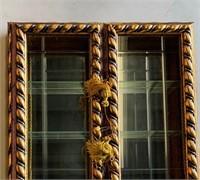 Gold Barley Twist Mirrored Back Display Case