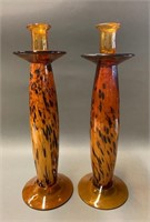 Pair of Mid Century Modern Amber Candle Sticks