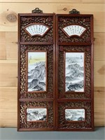 Chinese painted Porcelain Scenery Wall Panel Set