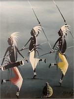 African Oil on Canvas by Muanza