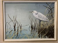 Oil on Board White Egret on Shore