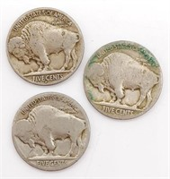 1930 and 1936 Buffalo Nickels and One Unknown