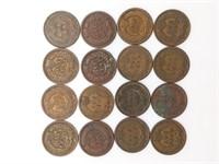 (16) Indian Head Pennies 1890-1908