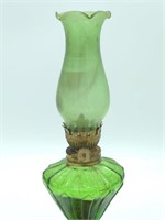 Small Green Glass Oil Lamp 10""