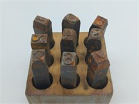 Metal Numerical Stamps and Wood Case