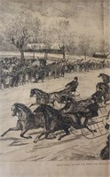 Framed Litho Trotting Races on The Ice
