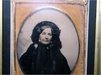 "13"" x 11"" Walnut Victorian framed photo,"