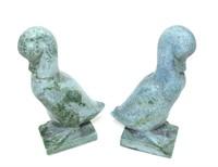 "Pair of Soapstone ducks, ca. 1910, 7 3/4"" H."