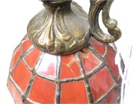 """Stained glass and brass mantle piece, 18"""" H."""