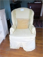 Vintage Wingback arm chair with slip cover