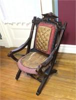 Victorian Renaissance Revival Walnut Folding Chair