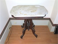 Victorian Marble top table, walnut base,