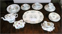 """Early W&C """"Feather"""" China set, with serving pcs."""
