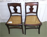 Pair of Empire caned seat side chairs
