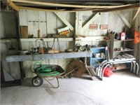 Lot: Large two wooden shelves with assorted tools,