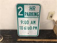 METAL 2 HR PARKING SIGN