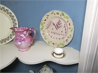 Lot: Ironstone and pink luster china