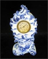 Blue & White Delft Type Porcelain Shelf Clock,