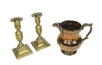 """Lot: Pair of 6.5"""" Brass candlesticks & 5.5"""" Copper"""