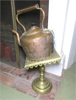 Lot: Early copper tea kettle with brass stand