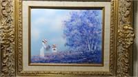8' x 10' C. Limkin, signed enameled art,