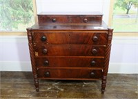 Early Crotch Mahogany Front Chest of drawers,