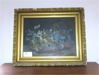 "19"" x 25"" O/C ""Pansies"" in Gilt Frame,"
