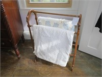 Quilt Stand with 2- Hand Sewn Quilts