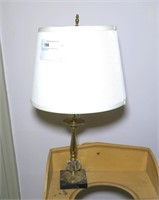 """Brass with agate base Table lamp, 22"""" H."""