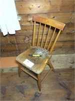 Early plank seat Windsor chair