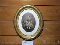 """12.5"""" Antique Child's photo in Oval Gilt Frame"""