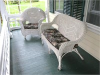Wicker chair and settee
