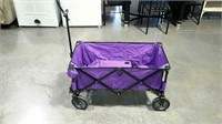 Folding wagon with storage bag, purple.