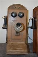Pair Old Oak Wall Telephones