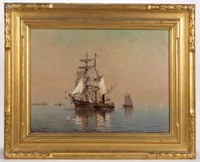 Marshall Johnson (American, 1850-1921) oil on canvas nautical scene in likely original frame