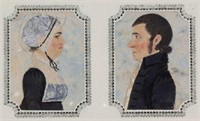 Pair of early 19th-century folk art watercolor profile portraits of Nancy Creel and Lewis Aylor, married February 20, 1810 in Madison Co., VA, attributed to the Brock Family artist.