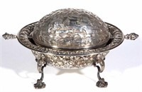 Good selection of Baltimore repousse, including this unusual presentaion / commemorative butter dish with horse racing motif