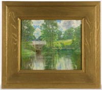 John Appleton Brown (American, 1844-1902) pastel landscape with mill