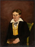 Samuel Taylor (Virginia, c.1806-1846) folk art portrait of a boy