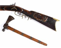 Fine Plains tomahawk and unusual carved and inlaid longrifle, from a good selection of early firearms and accessories