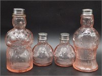(2) Sets of Pink Glass Figural Salt and Pepper
