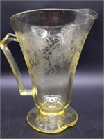 Yellow Depression Glass Pitcher (large chip on
