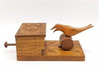 """Mechanical Wood Bird Cigarette Dispenser 7"""" x"""