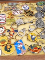 """Keychains in Glass and Wood Display Case 18"""" x"""