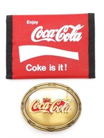 """1978 Coca-Cola Belt Buckle 3.5"""" and Wallet"""