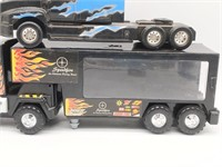"""(2) Plastic Toy Semis and Trailer 13"""", 9"""", and"""