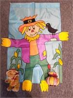 "Scarecrow Flag 28"" x 47"", Brass Button Bear, and"