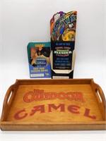 "Wood Camel Tray 11"" x 18"" and (2) Cardboard Camel"