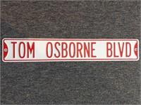 "Tom Osborne Blvd Metal Sign 36"""