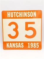 "1985 Hutchinson, Kansas '35' Metal Sign 12"" x 12"""